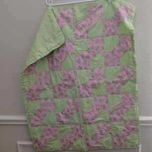 Vintage Quilt Baby Handmade Green Pink Frogs